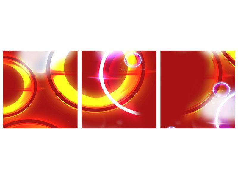 Panorama Metallic-Bild 3-teilig Abstraktes Retro