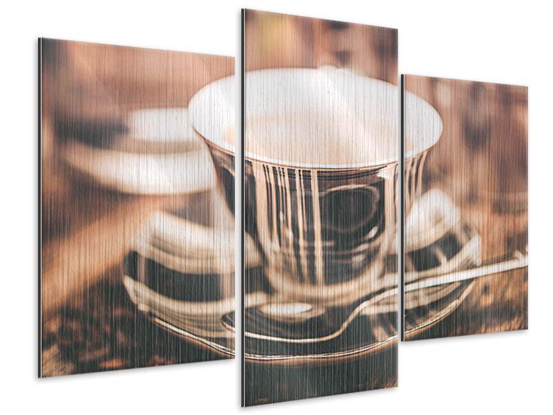 Metallic-Bild 3-teilig modern Der Kaffee ist fertig