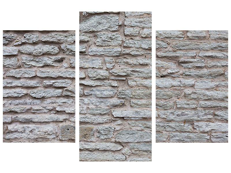 Metallic-Bild 3-teilig modern Steinmauer