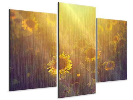 Metallic-Bild 3-teilig modern Sonnenblumen im goldenen Licht