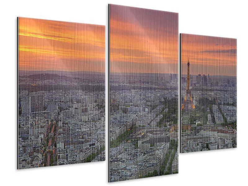Metallic-Bild 3-teilig modern Skyline Paris bei Sonnenuntergang