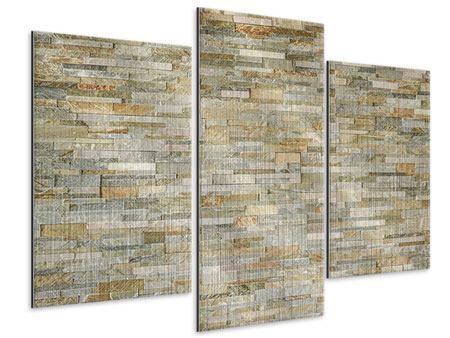 Metallic-Bild 3-teilig modern Edle Steinmauer