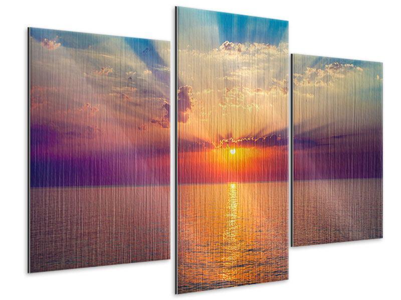 Metallic-Bild 3-teilig modern Mystischer Sonnenaufgang