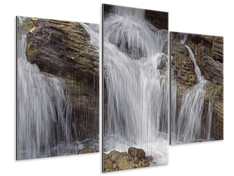 Metallic-Bild 3-teilig modern Wasserfall XXL