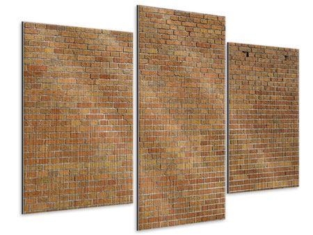 Metallic-Bild 3-teilig modern Backsteinhintergrund