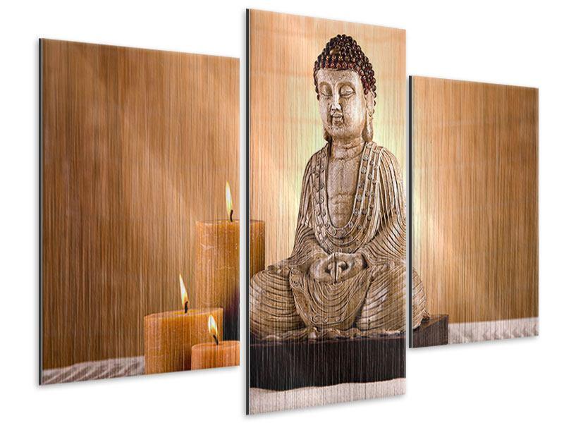 Metallic-Bild 3-teilig modern Buddha in der Meditation