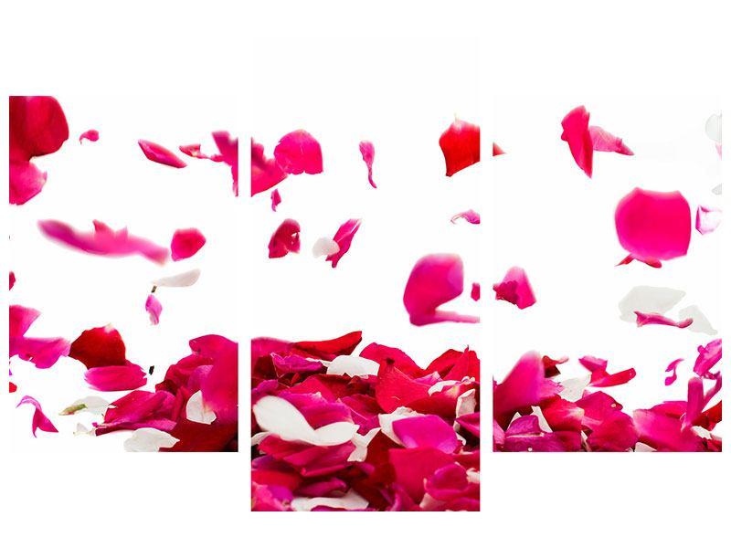 Metallic-Bild 3-teilig modern Für mich soll`s rote Rosen regnen