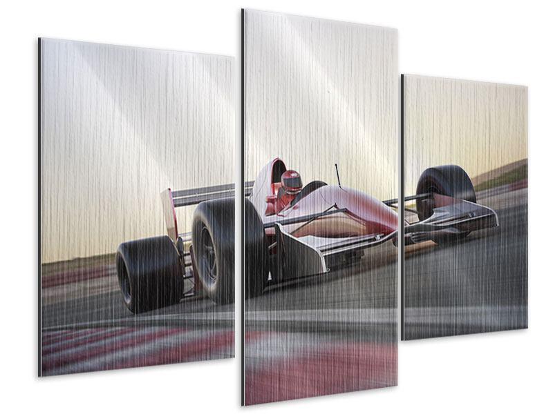 Metallic-Bild 3-teilig modern Rennstrecke