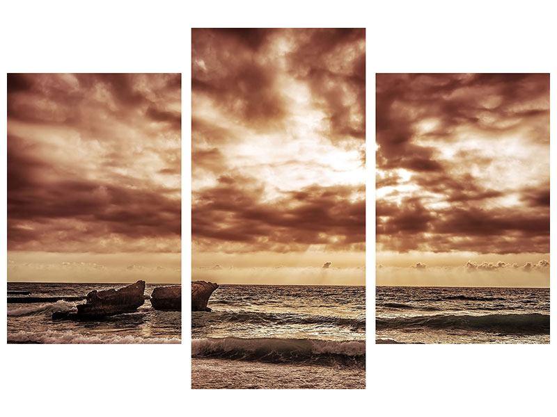 Metallic-Bild 3-teilig modern Meeresrauschen