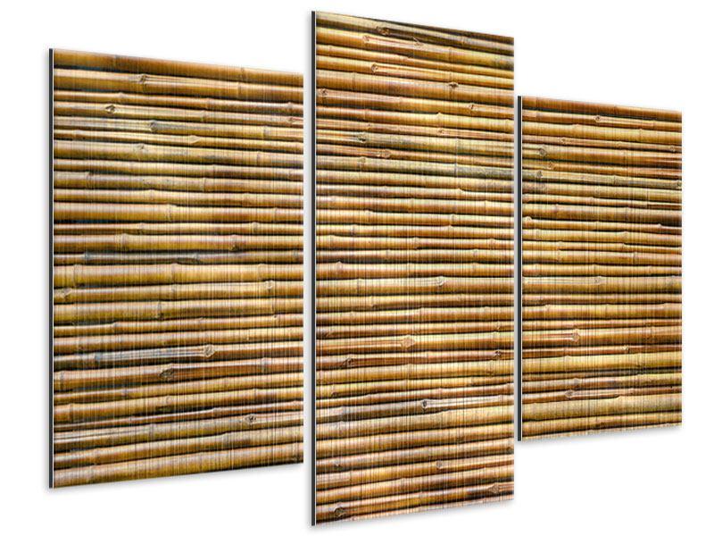 Metallic-Bild 3-teilig modern Bambus