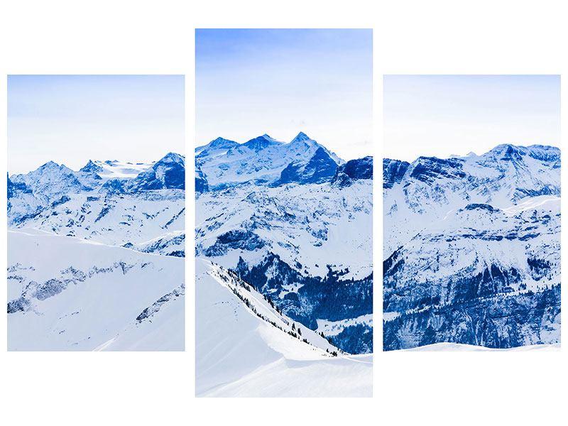 Metallic-Bild 3-teilig modern Die Schweizer Alpen