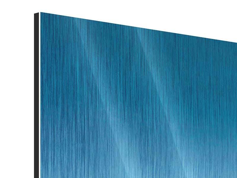Metallic-Bild 3-teilig modern Das Meer und Jules Verne