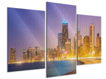 Metallic-Bild 3-teilig modern Skyline Chicago in der Nacht