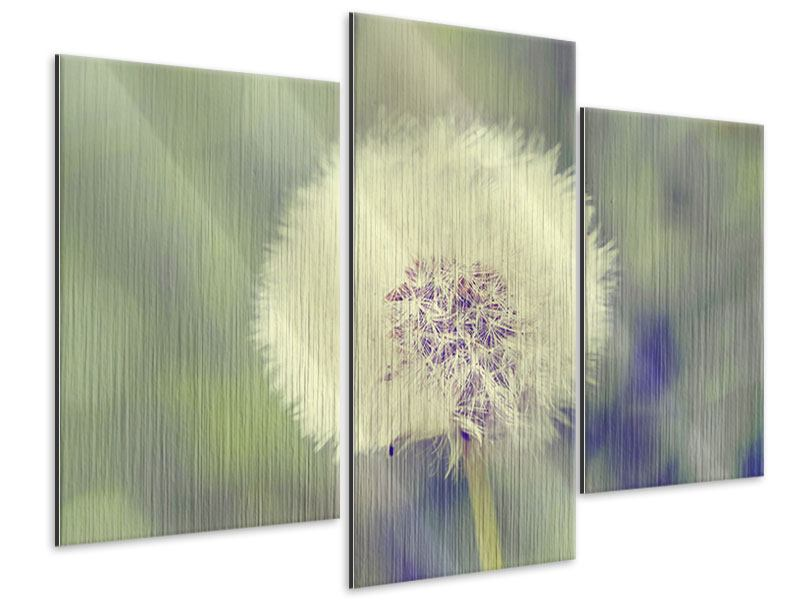 Metallic-Bild 3-teilig modern Die Pusteblume