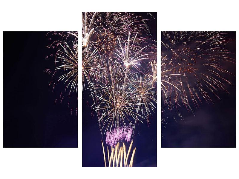 Metallic-Bild 3-teilig modern Feuerwerk