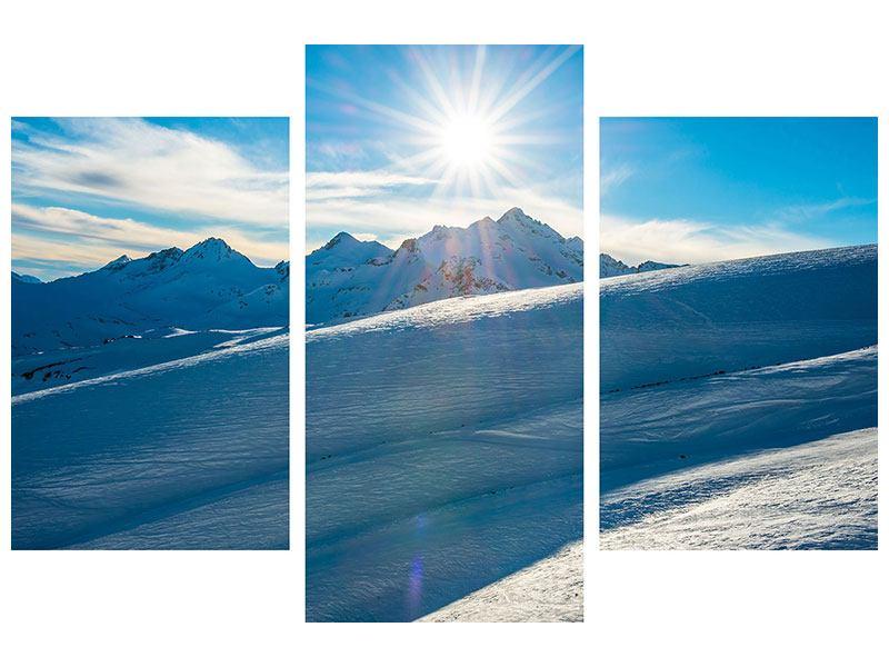 Metallic-Bild 3-teilig modern Ein Wintermärchen in den Bergen