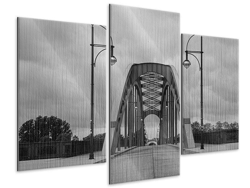 Metallic-Bild 3-teilig modern Poetische Brücke