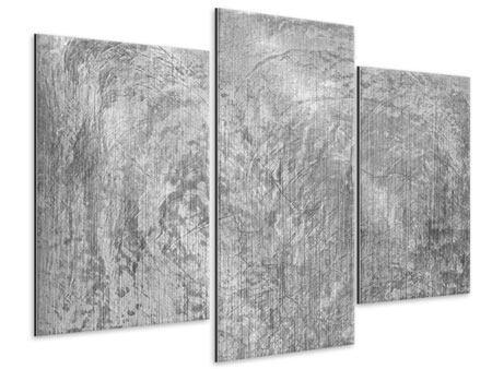 Metallic-Bild 3-teilig modern Wischtechnik in Grau