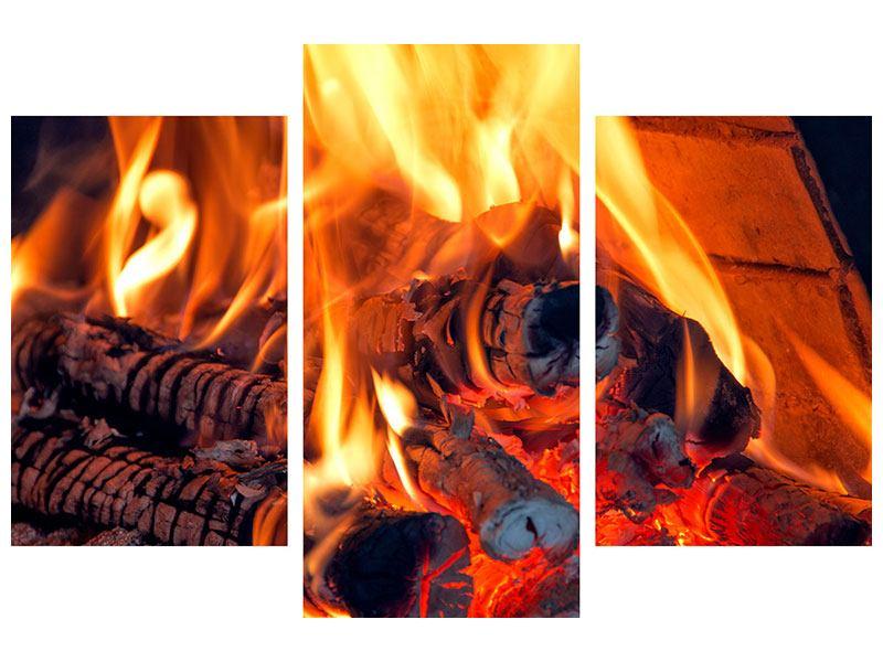 Metallic-Bild 3-teilig modern Lagerfeuer
