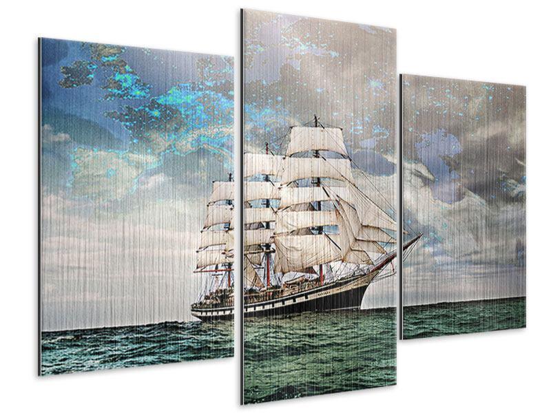 Metallic-Bild 3-teilig modern Segelschiff