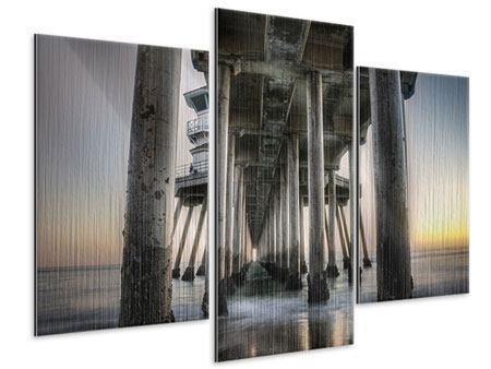 Metallic-Bild 3-teilig modern Brückenpfeiler