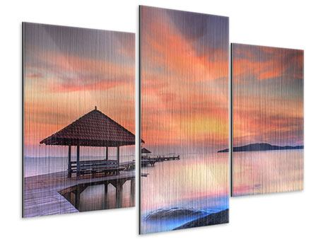 Metallic-Bild 3-teilig modern Paradiesische Brücke