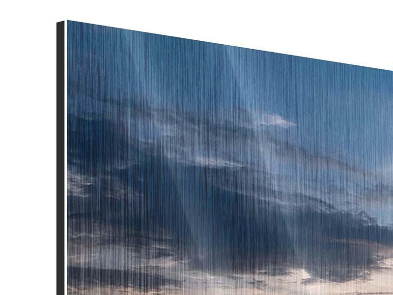 Metallic-Bild 3-teilig modern Ein Feld von Sonnenblumen