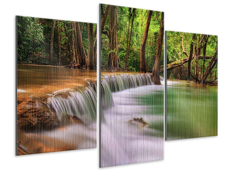 Metallic-Bild 3-teilig modern Deep Forest