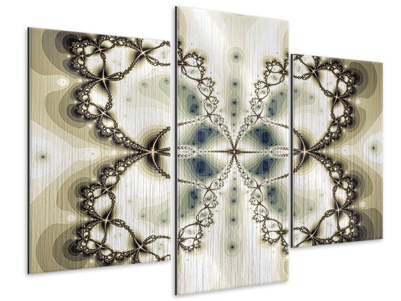 Metallic-Bild 3-teilig modern Abstrakter Schmetterling