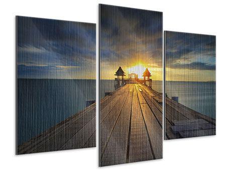 Metallic-Bild 3-teilig modern Der Sonnenuntergang bei der Holzbrücke