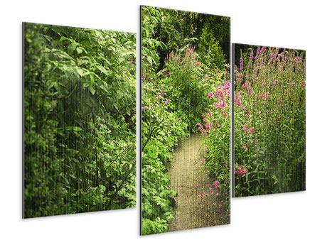 Metallic-Bild 3-teilig modern Gartenweg