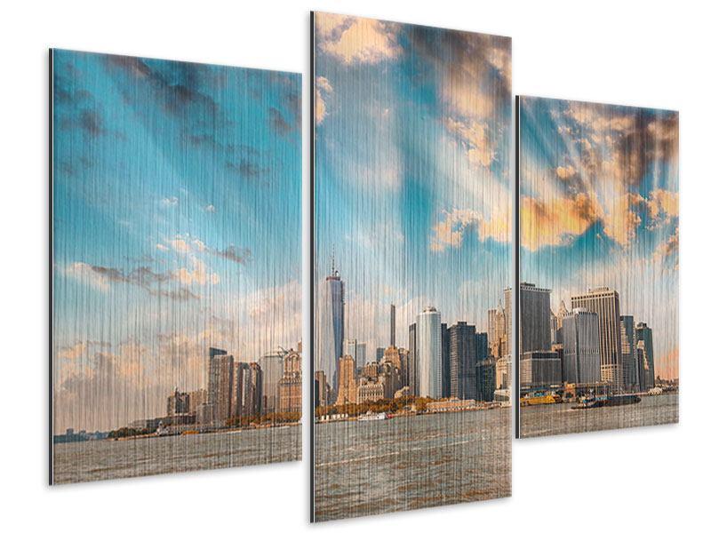 Metallic-Bild 3-teilig modern Skyline New York from the other Side