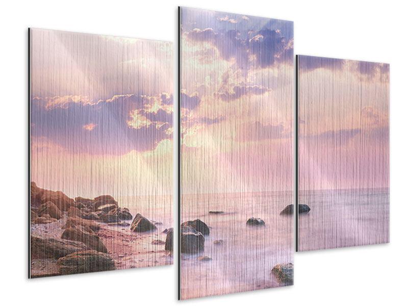 Metallic-Bild 3-teilig modern Sonnenaufgang am Meer
