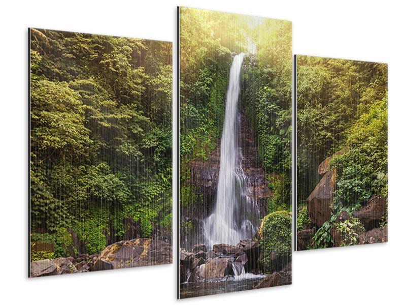 Metallic-Bild 3-teilig modern Wasserfall Bali