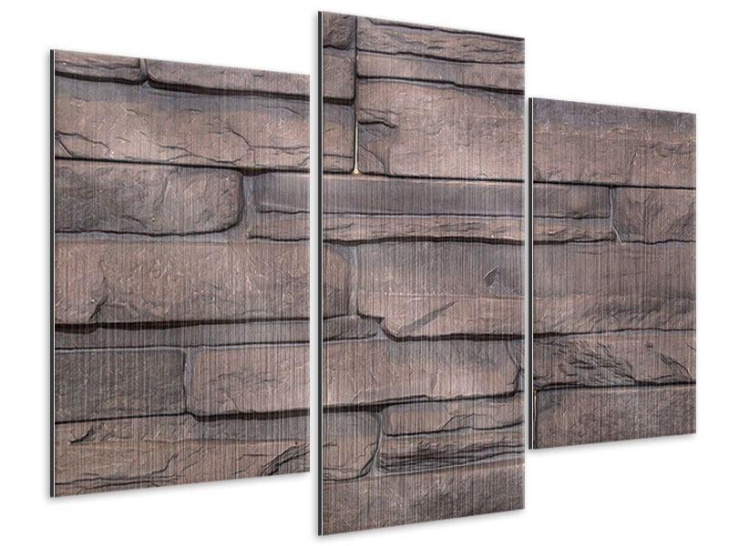 Metallic-Bild 3-teilig modern Luxusmauer