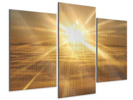 Metallic-Bild 3-teilig modern Über dem Wolkenmeer