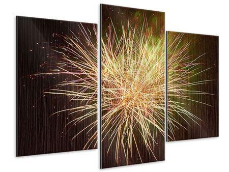Metallic-Bild 3-teilig modern Feuerwerk XXL