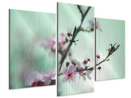 Metallic-Bild 3-teilig modern Die japanische Kirschblüte