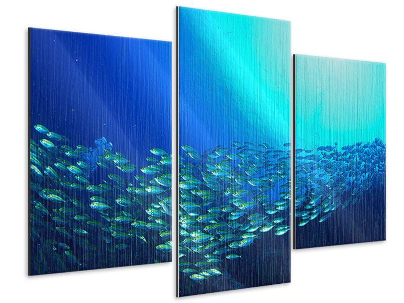 Metallic-Bild 3-teilig modern Fischschwarm