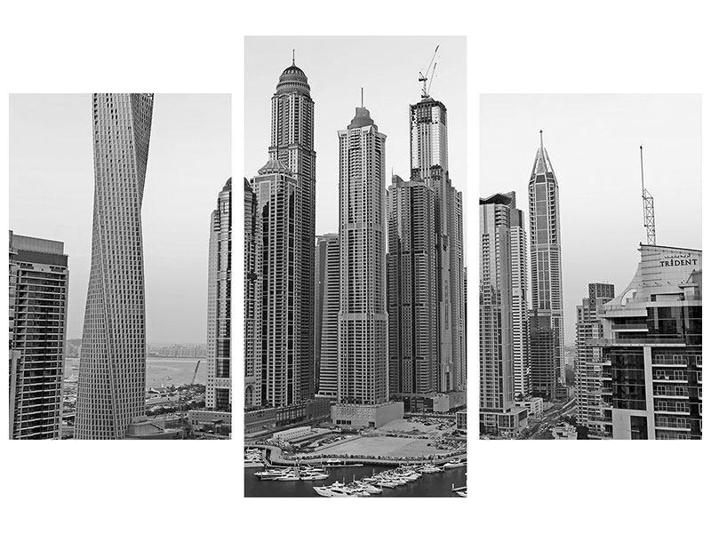 Metallic-Bild 3-teilig modern Majestätische Wolkenkratzer in Dubai