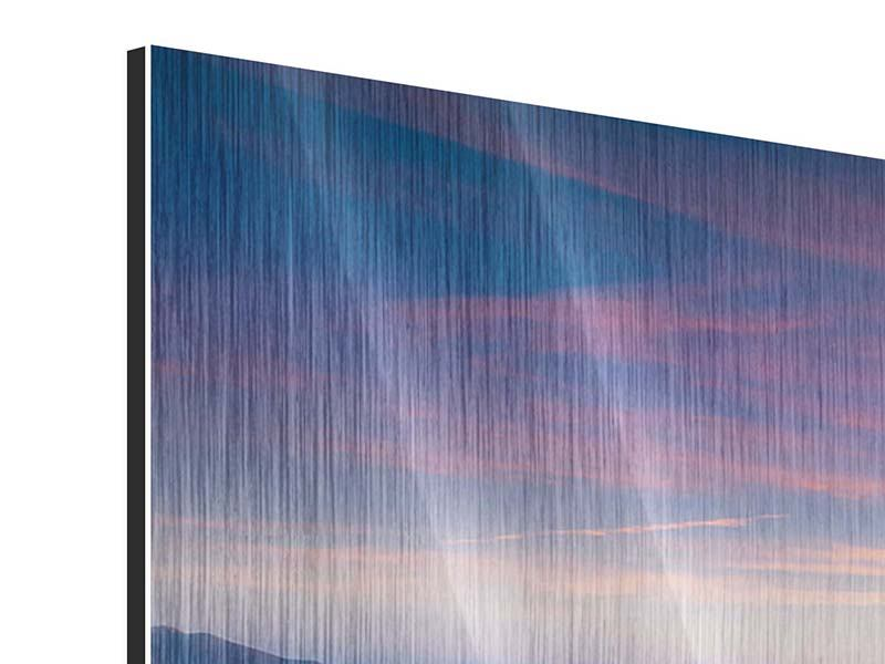 Metallic-Bild 3-teilig modern Sonnenuntergang in den Alpen