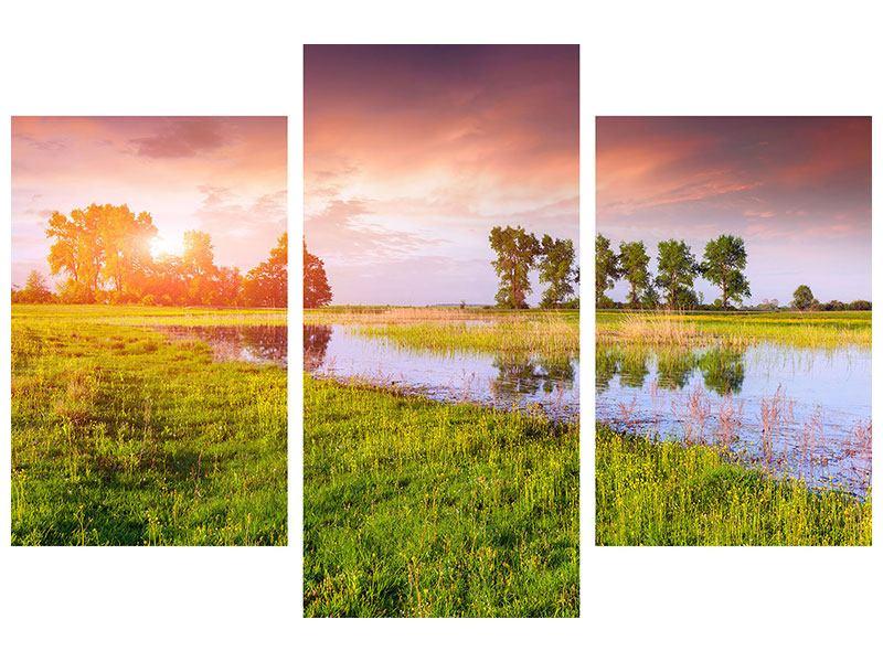 Metallic-Bild 3-teilig modern Sonnenuntergang am See