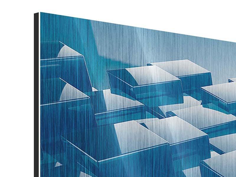 Metallic-Bild 3-teilig modern 3D-Cubes