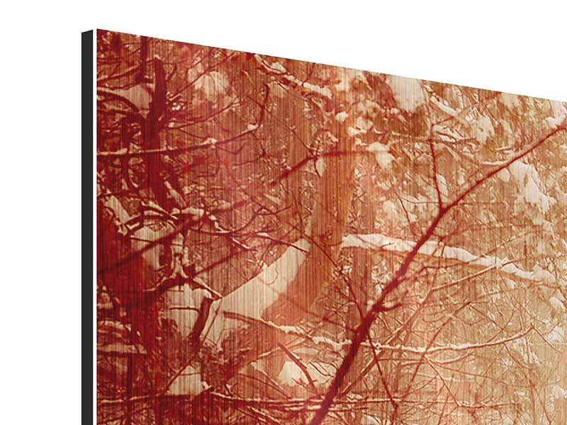 Metallic-Bild 3-teilig modern Schneewald
