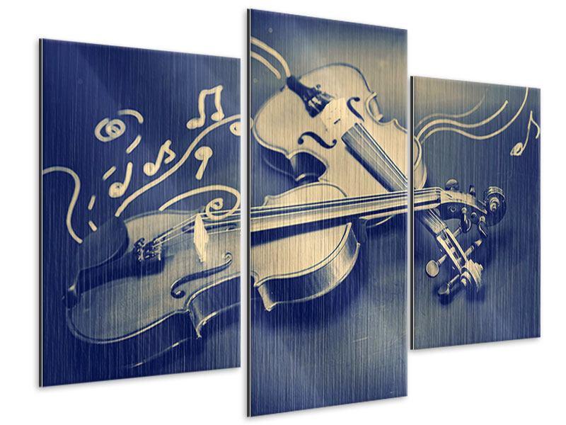 Metallic-Bild 3-teilig modern Geigen