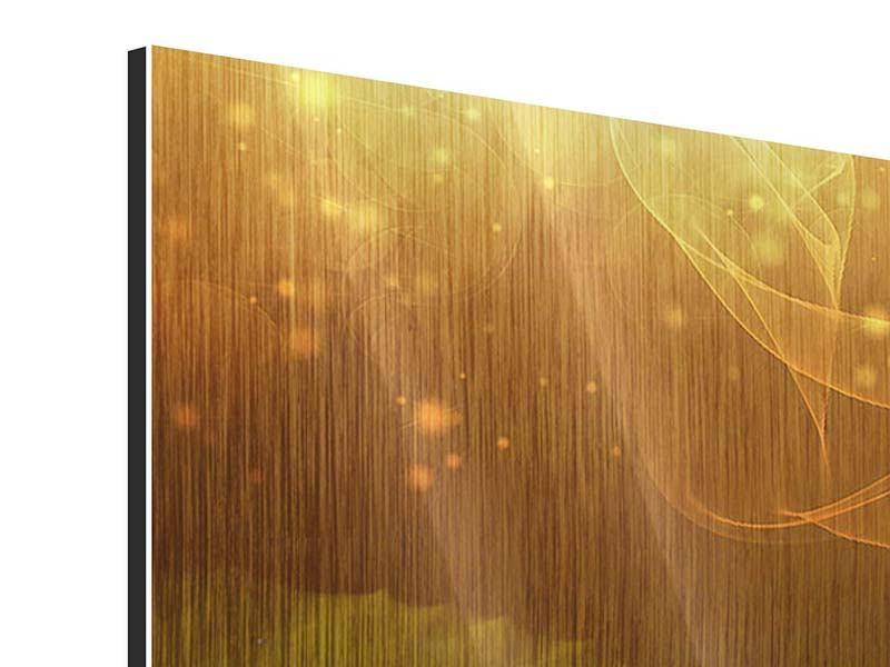 Metallic-Bild 3-teilig modern Der Frosch und das Seerosenblatt