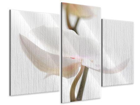 Metallic-Bild 3-teilig modern XXL Orchideenblüte