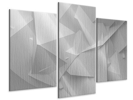 Metallic-Bild 3-teilig modern 3D-Raster