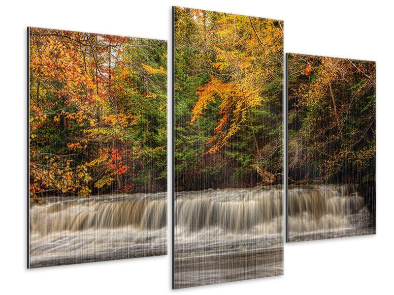 Metallic-Bild 3-teilig modern Herbst beim Wasserfall