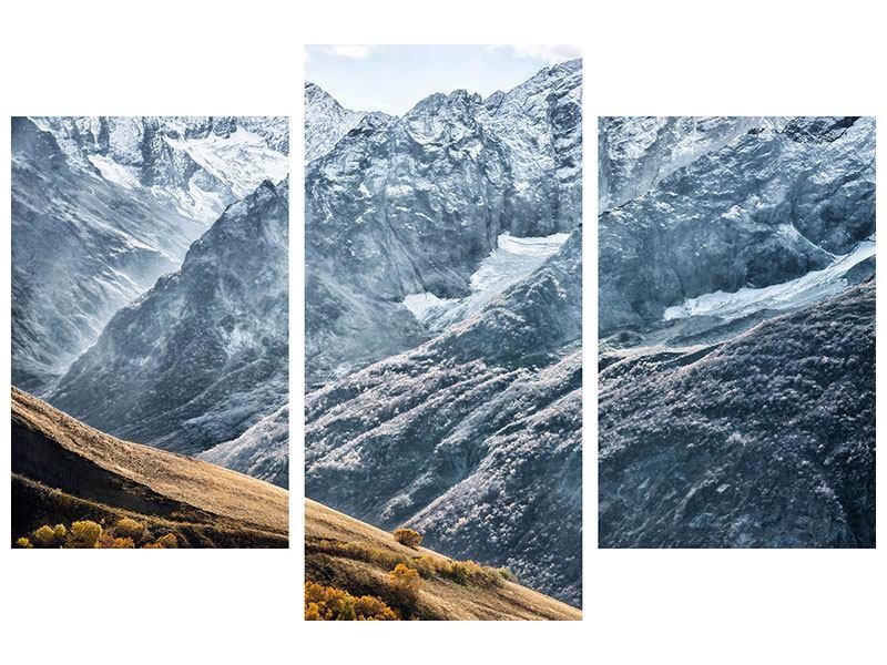 Metallic-Bild 3-teilig modern Gigantische Berggipfel